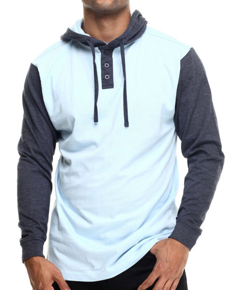 Basic Essentials - Men Light Blue Heathered Jersey Hooded Henley - $30.99