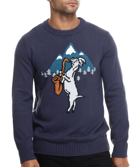 Wesc - Men Blue Bojjan Graphic Knit Sweater