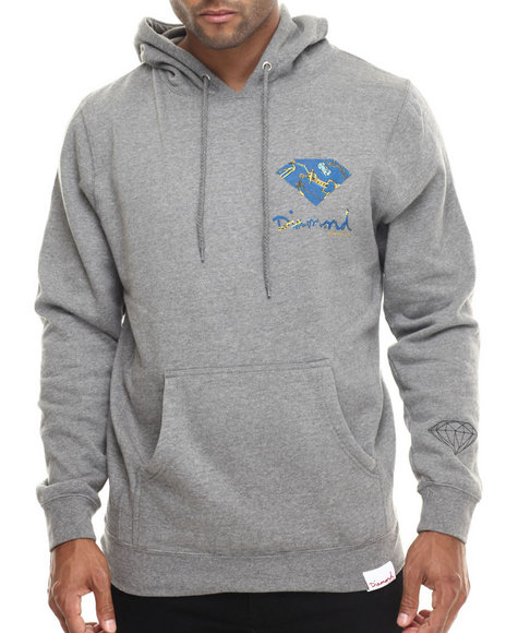 Diamond Supply Co - Men Grey Low Life Logo Hoodie