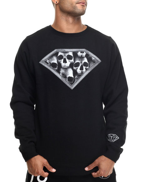 Diamond Supply Co - Men Black Diamond Skulls Crewneck Sweatshirt