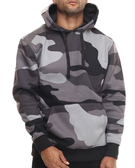 Basic Essentials - Men Black Printed Camo Fleece Hoodie