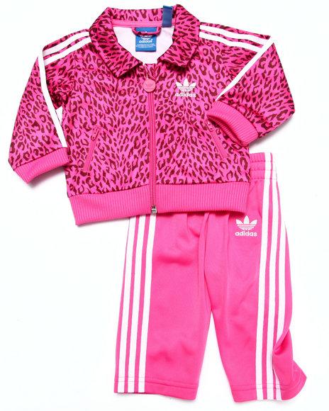 Adidas - Girls Pink Cheetah Tracksuit (3M-4T)