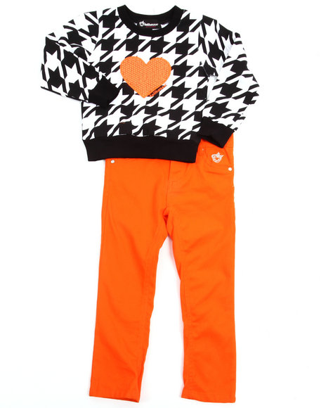 Dollhouse - Girls Orange Houndstooth Top & Twill Pants Set (4-6X)