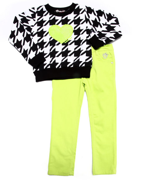 Dollhouse - Girls Lime Green Houndstooth Top & Twill Pants Set (4-6X) - $16.99