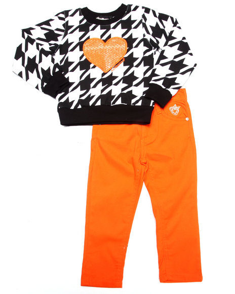 Dollhouse - Girls Orange Houndstooth Top & Twill Pants Set (2T-4T) - $28.00