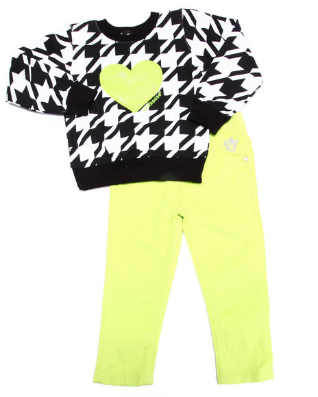 Dollhouse - Girls Lime Green Houndstooth Top & Twill Pants Set (2T-4T) - $28.00