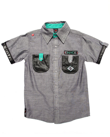 Enyce - Boys Grey S/S Military Woven (8-20)