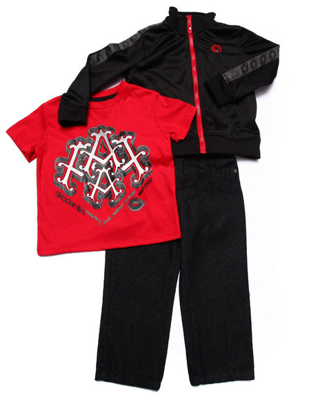 Akademiks - Boys Black 3 Pc Set - Track Jacket, Tee, & Jeans (2T-4T)