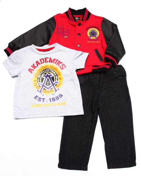 Akademiks - Boys Red 3 Pc Set - Varsity Jacket, Tee, & Jeans (Infant)