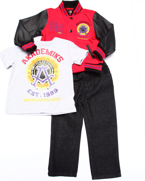 Akademiks - Boys Red 3 Pc Set - Varsity Jacket, Tee, & Jeans (2T-4T)