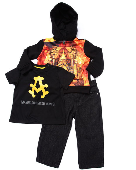 Akademiks - Boys Black 3 Pc Set - Pharaoh Sublimation Hoody, Tee, & Jeans (Infant)