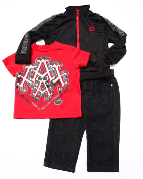 Akademiks - Boys Black 3 Pc Set - Track Jacket, Tee, & Jeans (Infant)