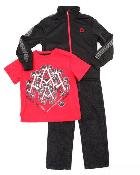 Akademiks - Boys Black 3 Pc Set - Track Jacket, Tee, & Jeans (4-7) - $22.99