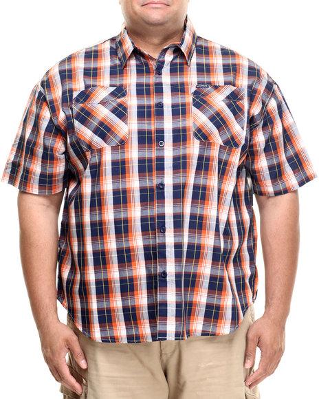 Rocawear - Men Navy,Orange Medium Twill S/S Button-Down (B&T)