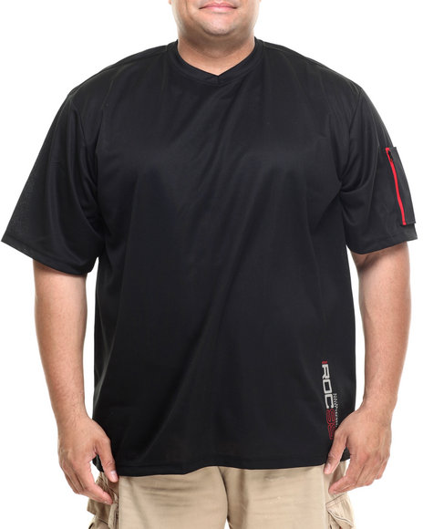 Rocawear - Men Black Iroc Poly Mesh S/S V-Neck Tee (B&T) - $26.99