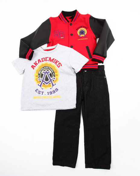 Akademiks - Boys Red 3 Pc Set - Varsity Jacket, Tee, & Jeans (4-7)