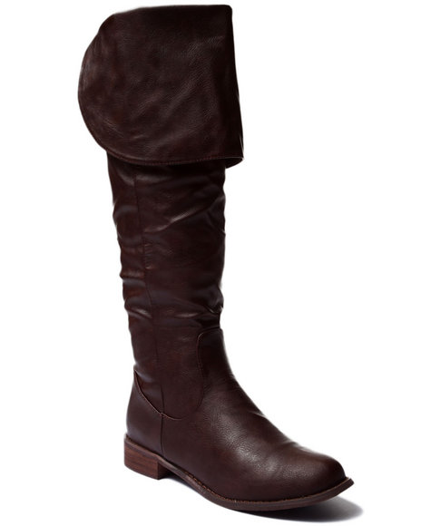 Ur-ID 185112 Fashion Lab - Women Brown Sandara Over The Knee Boot