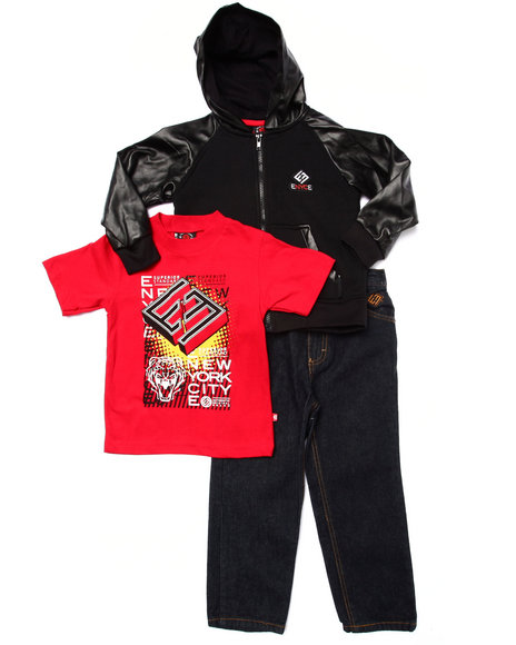 Enyce - Boys Red 3 Pc Set - Faux Leather Hoody, Tee, & Jeans (4-7)