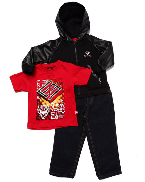 Enyce - Boys Red 3 Pc Set - Faux Leather Hoody, Tee, & Jeans (2T-4T)