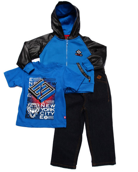 Enyce - Boys Blue 3 Pc Set - Faux Leather Hoody, Tee, & Jeans (2T-4T)