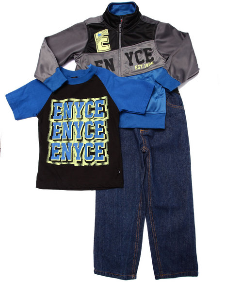 Enyce - Boys Blue 3 Pc Set - Tricot Jkt, Tee, & Jeans (4-7)