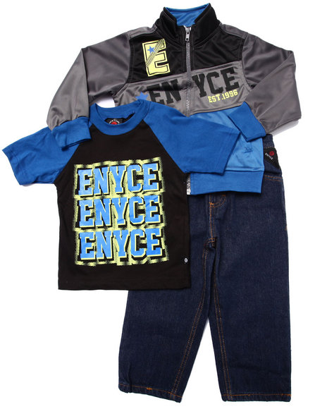 Enyce - Boys Blue 3 Pc Set - Tricot Jkt, Tee, & Jeans (2T-4T)