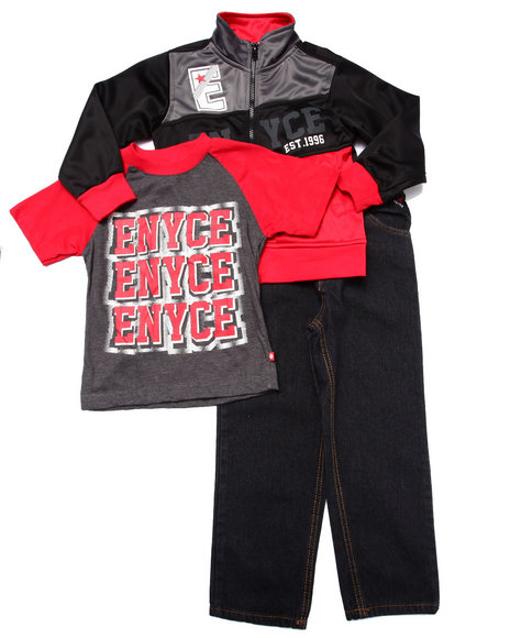 Enyce - Boys Red 3 Pc Set - Tricot Jkt, Tee, & Jeans (4-7)