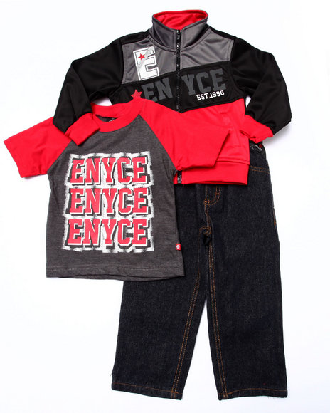 Enyce - Boys Red 3 Pc Set - Tricot Jkt, Tee, & Jeans (2T-4T)