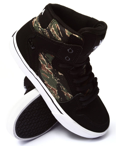 Supra - Boys Black,Camo Vaider Tiger Camo Sneakers (1-6)