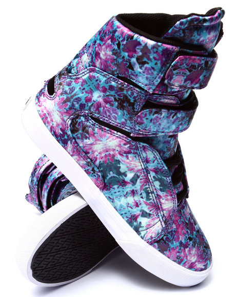 Supra - Women Blue Society Ii Blue Orchid Print Satin Sneaker