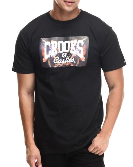 Crooks & Castles - Men Black Hierarchy Core Logo T-Shirt