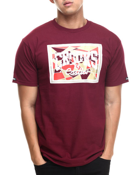 Crooks & Castles - Men Maroon Core Logo Mosaic T-Shirt - $26.99