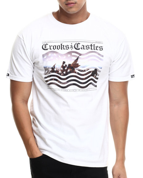 Crooks & Castles - Men White Crooks Landing T-Shirt - $22.99