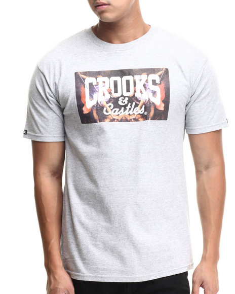 Crooks & Castles - Men Grey Hierarchy Core Logo T-Shirt