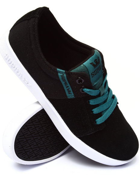 Supra - Men Black,Blue Stacks 2 Black Suede/Canvas Sneakers