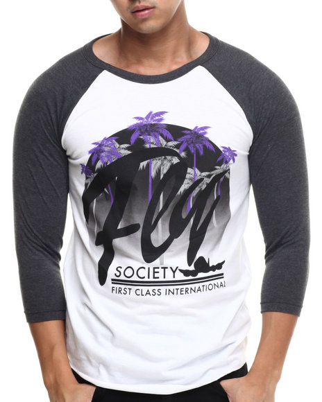Flysociety - Men Charcoal Moonrise Raglan