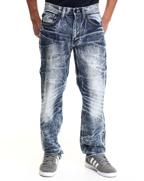 Akademiks - Men Indigo Aggies Indigo Washed Denim Jeans