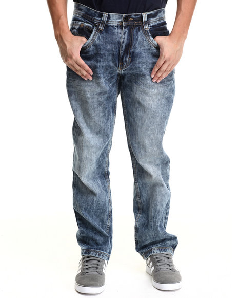 Akademiks - Men Indigo Cowboys Indigo Washed Denim Jean