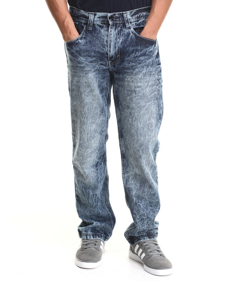 Akademiks - Men Vintage Wash Mavs Acid Wash Denim Jeans