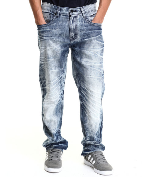 Akademiks - Men Vintage Wash Longhorns Acid Wash Denim Jeans