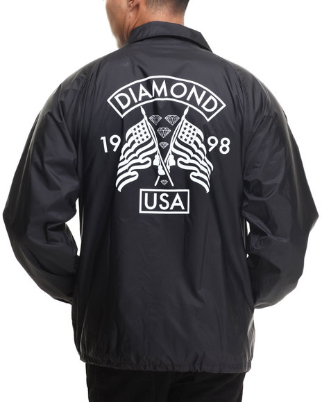 Diamond Supply Co - Men Black Diamond Usa Coach's Jacket