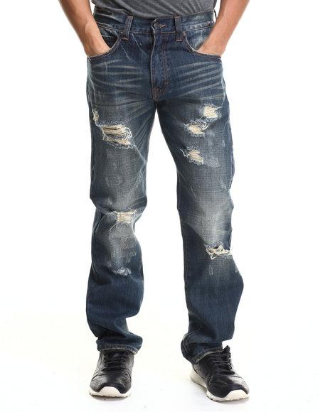 Eight 732 - Men Dark Wash Gold Luxury Denim Jeans