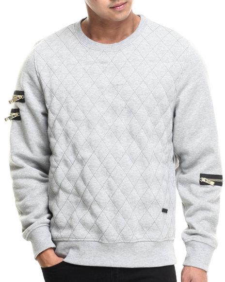 Akademiks - Men Grey High Bridge Quilted Fleece Crewneck Sweatshirt - $37.99