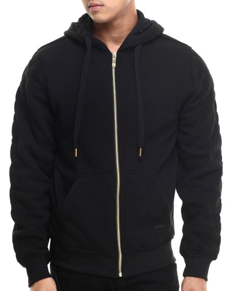 Akademiks - Men Black Columbus Quilted Full Zip Hoody