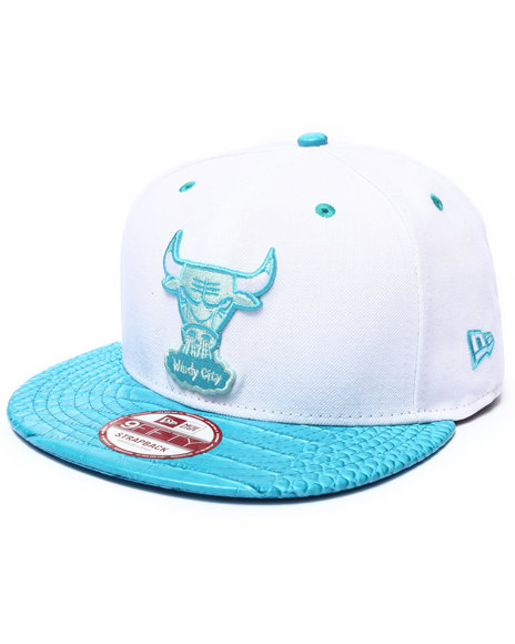 New Era Men Chicago Bulls Croc Brim Strapback Hat (Drjays.Com Blue Medium/Large