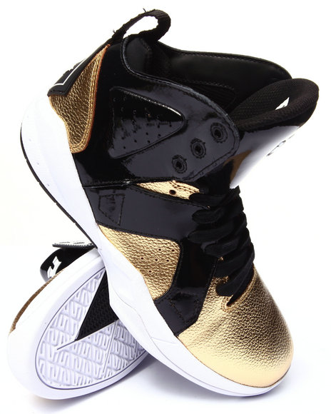 Supra - Men Black,Gold Magazine Gold Tumbled Leather Sneakers