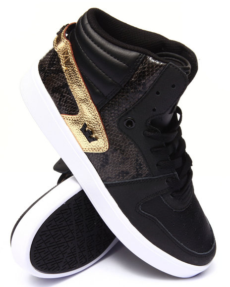 Supra - Men Black,Gold Sphinx Black And Gold Leather/Faux Snakeskin Sneakers