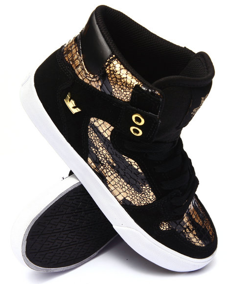 Supra - Women Black,Gold Vaider Gold Foil Croc Print Sneaker