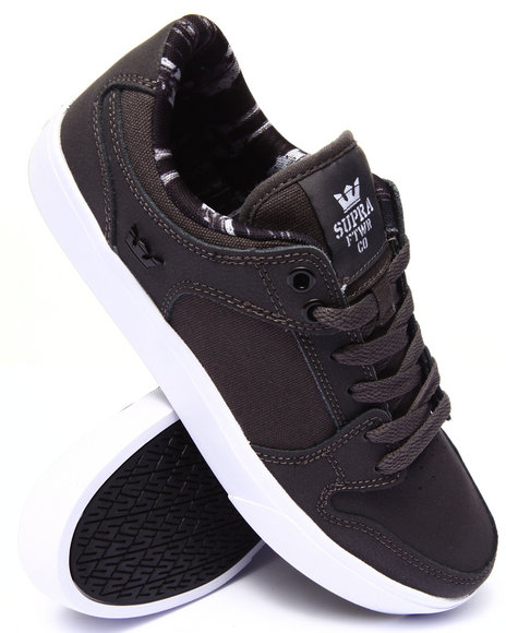 Supra - Men Grey Vaider Lc Charcoal Oiled Nubuck Sneakers