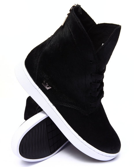 Ur-ID 185753 Supra - Women Black Joplin Pony Hair Sneaker